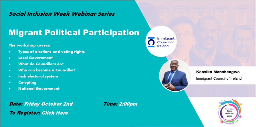 Migrant Political Participation Webinar - Friday October 2nd at 2:00pm. To register, click on poster